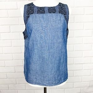 Madewell denim top diamond embroidery size L blue